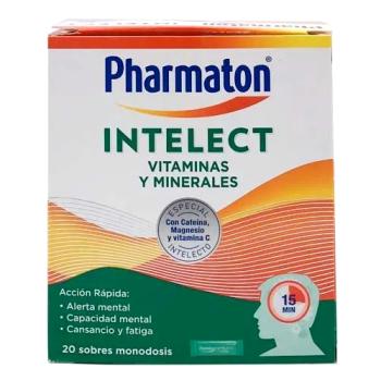 Pharmaton Intelect 20 sobres, Complemento de Vitaminas, Minerales y Cola.