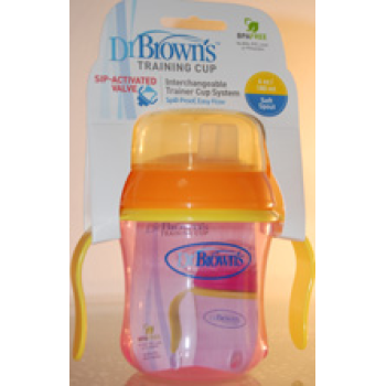 Taza educativa Dr. Browns 180 ml +6m. COLORES SURTIDOS