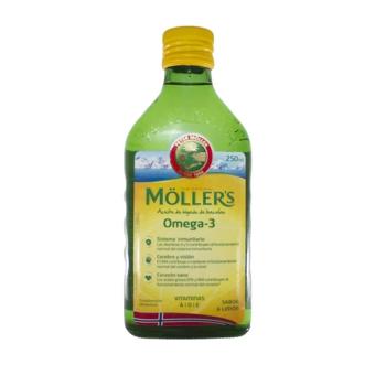 Mollers Aceite de Hígado de Bacalao |Omega3| 250ml Sabor Limón.